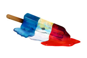 popsicle, Vector, Art, Color, Red, White, Blue, Summer, Melt, Stick, Liquid, Food, Sweets