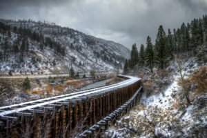 railroad, Railway, Train, Tracks, Bridges, Architecture, Nature, Landscapes, Trees, Winter, Snow, Sky, Clouds, Roads