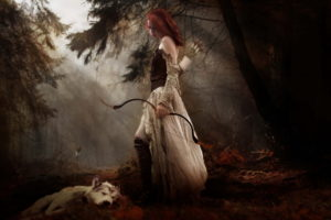 fantasy, Cg, Digital, Art, Manipulation, Mood, Women, Females, Girls, Redheads, Babes, Gothic, Weapons, Bow, Arcger, Gown, Nature, Trees, Forest, Woods, Fog, Animals, Wolf, Wolves