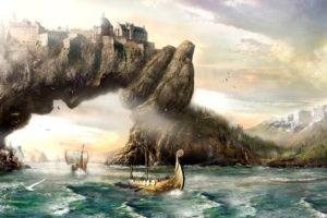 fantasy, Art, Vikings, Sailing, Boats, Ships, Landscapes, Paintings, Mountains