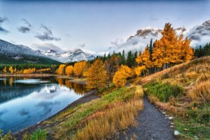 water, Park, Clouds, Sky, Snow, River, Forest, Nature, Mountains, Autumn