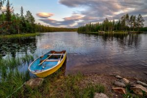 lake, Island, Trees, Beach, Boat, Norway, Landscape
