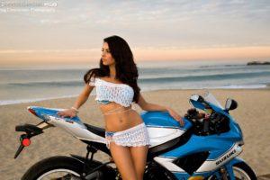 angela, With, Suzuki, Gsx r750, Bike, Motorcycle, Woman, Brunette, Beautiful, Body