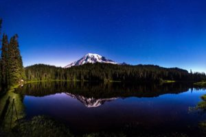lake, Mountain, Summer, Nature, Landscape, Reflection, Trees, Forest, Stars, Sky, Night, Shore, Snow