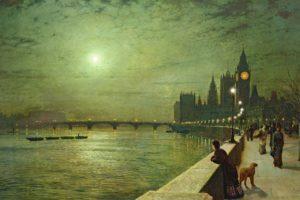 moon, Painting, John, Atkinson, Grimshaw, Promenade, Night, People, Art, Buildings, Cities, Rivers
