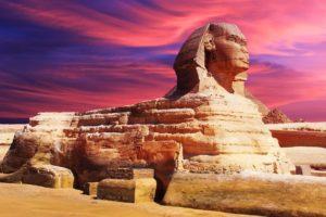 egypt, Sculpture, Sphinx, Landmark, Architecture, Sky, Clouds, Sunset
