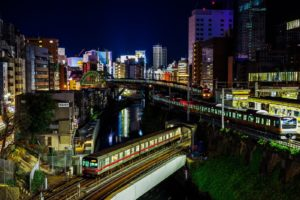 japan, Japon, Architecture, Bridges, Freeway, Building, Cities, Monuments, Night, Panorama, Panoramic, Rivers, Tower, Towers, Tokyo, Ray, Light, Rail, Train