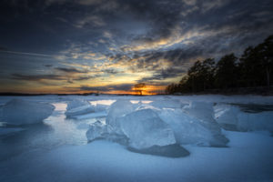 ice, Sunset, Winter, Lakes, Water, Sky, Clouds, Shore, Reflection