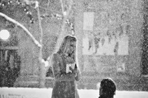 snow, Winter, Couple, Love, Romance, Marriage, Proposal