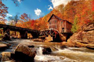 autumn, Water, Mill