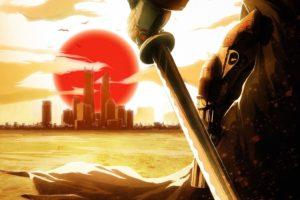 artwork, Real, Steel, Japan, Sun, Cloud, City, Ocean, Sword, Samurai