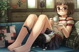brunettes, Glasses, Summer, Barefoot, Short, Hair, Meganekko, Anime, Girls, Cats, Drawn