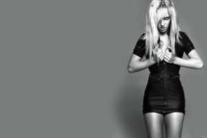 britney, Spears, Singer, Musician, Blondes, Women, Females, Girls, Sexy, Babes, Face, Eyes, Monochrome, Black, White, Cleavage, Legs