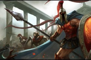 video, Games, League, Of, Legends, Armor, Red, Eyes, Battles, Warriors, Spears, Helmets, Glowing, Eyes, Pantheon, Shields, Spartans