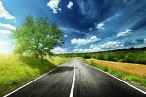 road, Field, Trees, Landscape