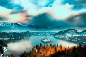 slovenia, Bled, Lake, Slovenia, Lake, Bled, Mountain, Forest, Trees, Island, Church, Home, Lake, Water, Snow, Winter, Sky, Clouds, Landscape, Nature