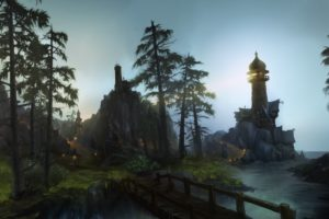 building, Landscape, Leaves, Nobody, Scenic, Tree, Water, World, Of, Warcraft