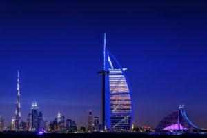 burj, Alarab, Dubai, Arabskaya, Blue, Boats, Buildings, City, Country, Evening, Hotels, Lights, Melbourne, Port, Sea, Sky, Skyscrapers, Globalization, Development, Technology, Gulf