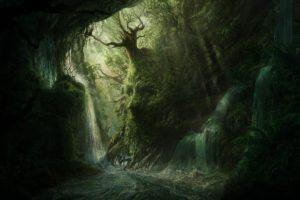 artwork, Fantasy, Magical, Art, Forest, Tree, Landscape, Nature, Cave, Skull
