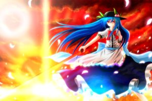 blue, Hair, Bow, Clouds, Dress, Feathers, Fruit, Hat, Hinanawi, Tenshi, Leaves, Long, Hair, Nekominase, Red, Eyes, Sky, Sword, Touhou, Weapon