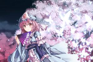 butterfly, Dress, Fan, Petals, Saigyouji, Yuyuko, Shake, Touhou