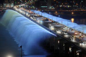 fountain, Seoul, Fountain, Lights, Night, South, Korea, The, Bridge