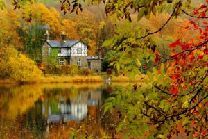 autumn, Fall, Landscape, Nature, Tree, Forest, Leaf, Leaves, House, Lake, Reflection