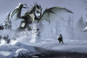 art, Skyrim, Winter, Snow, Dragon, Warrior, River, Stream, Forest, Magic, Dragons, Fantasy, Warrior, Warriors, Elder, Scrolls