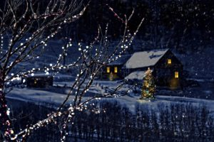 winter, Houses, Christmas, Snow, Snowflakes, Night, Christmas, Tree, Branches, Nature