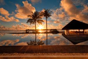 landscape, Water, Palm, Trees, Sunset, Sky, Sun, Clouds, Maldives